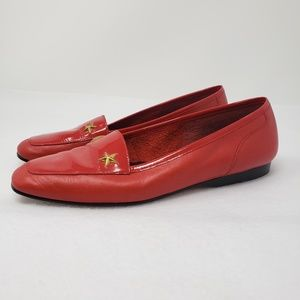 Enzo Angiolini Red Leather Loafers Gold Star Flats
